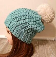 Blue pom pom slouchy chunky hat crochet womans handmade new