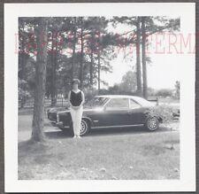Vintage Car Photo Woman w/ 1966 Pontiac GTO Muscle Car 756447