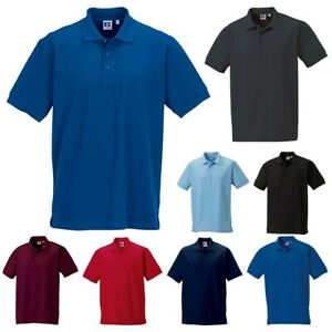 Russell Mens Ultimate Cotton Short Sleeve Neck Collar Golf Plain Polo Shirt