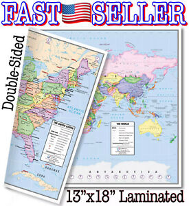 "Laminated US and World Desk Map 13"" x 18"" By American Geographics - NEW! FAST!"