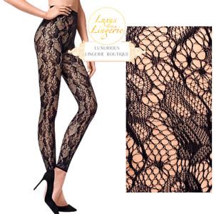 LOUISE LEGGINGS by Wolford ✨ M Medium Schwarz Black ✨ Flower Net Netz Hose