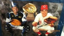 JOHNNY BENCH/IVAN RODRIGUEZ Combo Signed 20x16 Baseball Photo -JSA Authenticated