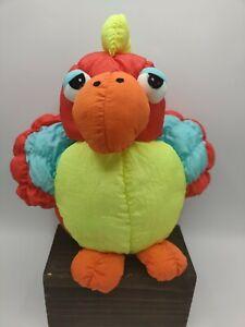 "Vintage 1990 Prestige Toy Parrot Puffalump Squeeker Red Blue Orange Yellow 12"""
