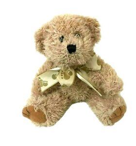 Teddy Time Brown Teddy Bear Ribbon Paw Print Bow Soft Plush Toy 14cm Tall