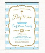 Boy Baptism Invitation Blue Gold Christening Invite Christian First Birthday