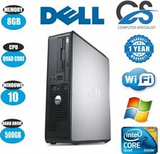 VELOCE DELL QUAD CORE PC COMPUTER DESKTOP TOWER WINDOWS 10 WI-FI 8GB RAM 500GB