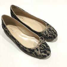 ENZO ANGIOLINI Natural Black Lace Designer Leather  Bow Ballet Flats Sz 10