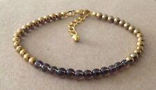 Golden Plated, Friendship Bracelet Smokey Quartz+Golden Hematite Beaded,