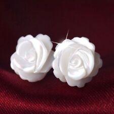 925 Sterling Silver Post White Mother of Pearl 12MM Rose Flower Stud Earrings