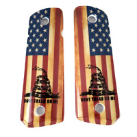 1911 Grips - Full Size - Government - Commander - Ambi Cut - US Flag - Snake