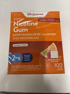 Walgreens Nicotine Gum, Stop Smoking Aid, 2mg, Fruit Flavor, 100pcs, Exp:11/2023