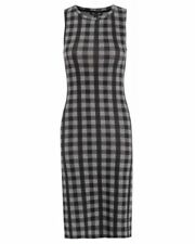 Ex Topshop Fine Jersey Grey Checked Shift Dress with Side Splits Size 8-14 (TS18