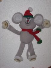 """Vintage Russ Berrie Stuffed 8"""" Christmas Mouse Window Cling Suction Cups"""