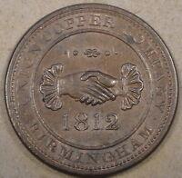 1812 Birmingham Penny Token AU-Unc as Pictured Handshake