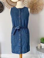 Next Denim Button Front Belted Dress UK10 Shirt Dress