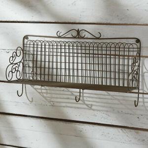 Wall  Shelf w/Hooks Wire Garden Gate