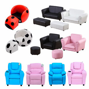 Children Kid Sofa Set Recliner Armchair Footstool Ottoman Multi Colours Sizes