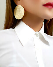 18K Gold Plated Statement Disc Stud Earrings New Womens Jewelry