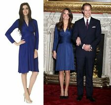 REISS Iconic Sold Out Blue Mock Wrap Dress (Issa Blue Engagement Dress Look)