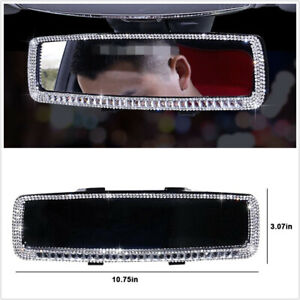 Bling Accessories Car Interior Rearview Mirror Edge Rhinestone Decals Cover
