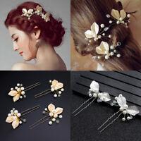 Hair Jewelry Crystal Hairpins Pearl Leaf Hair Clips Bridal Hair Accessories