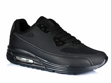 Womens Mens Running Air Trainers Shock Absorbing Fitness Gym Sports Shoes Size Black UK 5 / EU 38