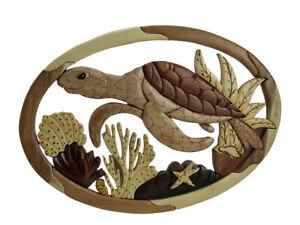 Zeckos Swimming Sea Turtle Hand Crafted Intarsia Wood Art Wall Hanging