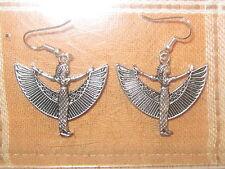 NEW 30MM SILVER TONE EGYPT EGYPTIAN ISIS WINGED GODDESS DANGLE CHARM EARRINGS