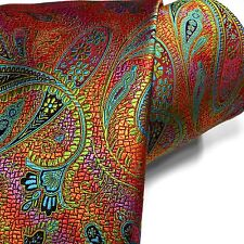 Bold New Tie 100% Silk Multi-color Floral Paisley Orange Teal Blue Pink Green