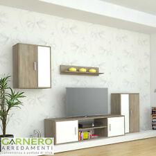 Parete attrezzata soggiorno SMERALDO rovere bianco moderna design porta tv