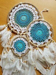 D8 teal & white boho crochet dream catcher 3 sizes available