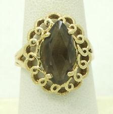 14K Yellow Gold 15x8mm Marquise Smokey Topaz Ring sz6.5 18mm 4.8g M1441