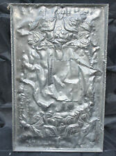 Arts & Crafts hand made Pewter Plaque Abstract Pattern Baize Backing Signed