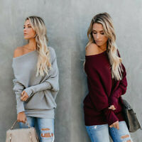 Sweater Blouse Baggy Jumper Sleeve Tops Loose Women One Shoulder Knitted Long