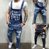 Mens Overalls Denim Jeans Casual Letter Dungarees Slim Fit Bib Jumpsuit Pants