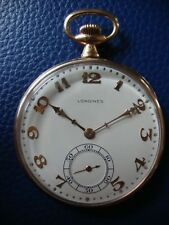 14K Solid Gold LONGINES ANTIQUE Pocket Watch 1917 Running MAPPIN & WEBB MOVEMENT