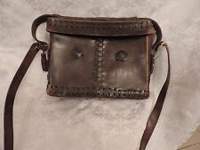 SAC  BESACE CUIR MARRON FONCE  ARTISANAT ETHNIQUE  / VINTAGE 70  LEATHER  BAG