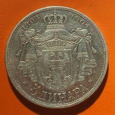 5 Dinara 1904 Serbia Yugoslavia SILVER VERY SCARCE !! Still Proof in shield !!