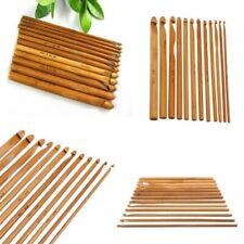 12PC/Set Bamboo Handle Crochet Hook Knit Weave Yarn Craft Knitting Needles USA