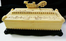 Vintage Oriental Jewelry Trinket Box ivory color and black plastic Bird & Dragon