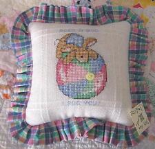 PILLOW decorator handmade counted cross stitch BABY RABBIT ball NURSERY TODDLER