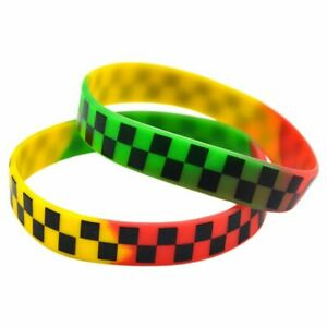 Unisex Checkered Silicone Wristbands Punk Style Printed Bracelets Accessories