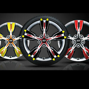 """18"""" 4 Wheel Point Decal Stikers For 2013-2016 Hyundai Veloster Turbo"""