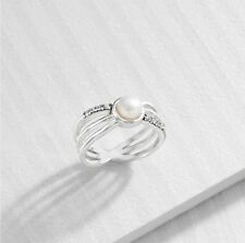 "NIB SILPADA Sterling Silver Swarovski Crystal 'PROMINENT PEARL"" Ring R3485 9"