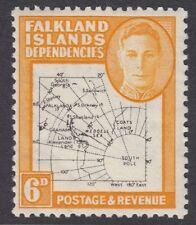 FALKLAND IS DEPENDENCIES 1948 'Thin ' Map 6d  SGG14 Mint