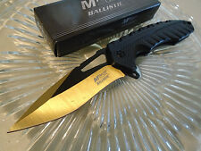 Mtech Ballistic Assisted Open Gold Tini Black Tactical Pocket Knife A930GD New