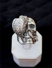 Biker ring,  SKULL with Deadly cobra biting it, STERLING SILVER