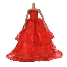 1x Red Embroidery Luxurious Wedding Lace 4 Layers Dress for Barbies TB