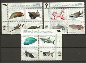 UN 2014 Fauna Wildlife Marinelife Fisch Fish 3 compl. sets MNH