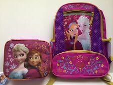 Disney Frozen Backpack Bookbag and Lunch Box Kit Bag Pink Purple Elsa Anna